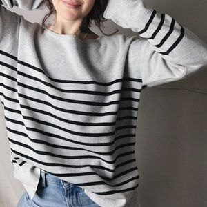 ATHLETA Cotton Blend Striped Sweater Black Grey
